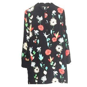 Zara Women's Long Sleeve Floral Midi Dress